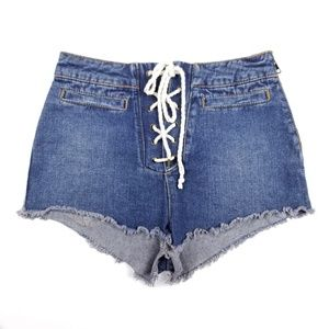 BDG UO High Rise Denim Shorts Lace Up Nuatical
